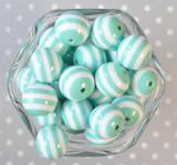 20mm Aqua and white striped bubblegum beads