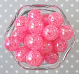 20mm Hot Pink AB crackle bubblegum beads