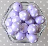 20mm Lavender polka dot chunky bubblegum beads