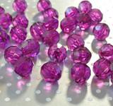 20mm Bright Purple faceted bubblegum beads