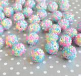 20mm Easter Bright confetti AB rhinestone bubblegum beads