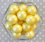 20mm Lemon yellow matte pearl bubblegum beads