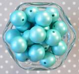 20mm Turquoise Blue matte pearl bubblegum beads