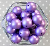 20mm Dark Purple matte pearl bubblegum beads