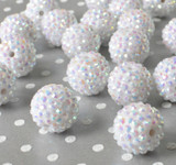 20mm White AB rhinestone bubblegum beads