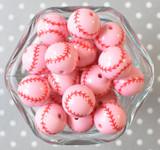 20mm Pink baseball printed bubblegum beads