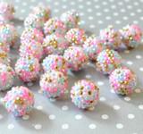 20mm Pink aqua gold confetti AB rhinestone bubblegum beads