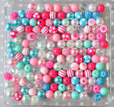 12mm Pink, aqua, turquoise bubblegum bead mix