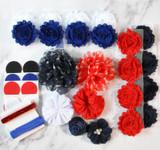 Americana shabby flower headband kit