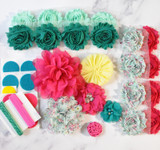 Aqua and Fuchsia shabby flower headband kit