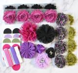 Purple Orchid and Black shabby flower headband kit