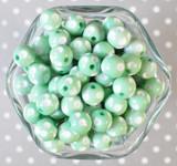 12mm Mint green polka dot bubblegum beads