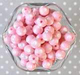 12mm Pink polka dot bubblegum beads