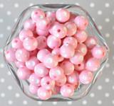 12mm Pink polka dot bubblegum beads