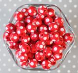 12mm Red polka dot bubblegum beads