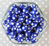 12mm Royal blue polka dot bubblegum beads