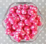 12mm Shocking pink polka dot bubblegum beads