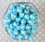 12mm Turquoise polka dot bubblegum beads