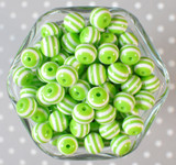 12mm Lime green stripe bubblegum beads
