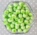 12mm Lime green stripe bubblegum beads
