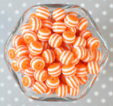 12mm Orange stripe bubblegum beads