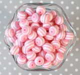 12mm Pink stripe bubblegum beads