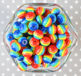 12mm Rainbow stripe bubblegum beads