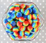 12mm Rainbow stripe bubblegum beads