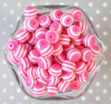 12mm Shocking pink stripe bubblegum beads