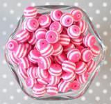 12mm Shocking pink stripe bubblegum beads