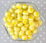 12mm Yellow stripe bubblegum beads
