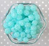 12mm Aqua rhinestone bubblegum beads