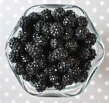 12mm Black rhinestone bubblegum beads