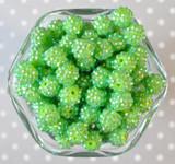 12mm Lime rhinestone bubblegum beads