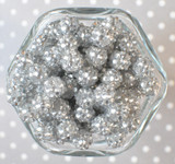 12mm Silver rhinestone bubblegum beads
