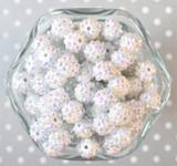 12mm White AB rhinestone bubblegum beads