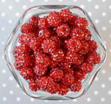 12mm Red rhinestone bubblegum beads