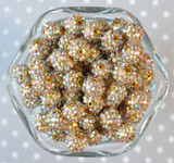 12mm Bright gold AB rhinestone bubblegum beads