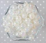 12mm Clear AB crackle bubblegum beads