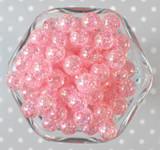 12mm Pink AB crackle bubblegum beads