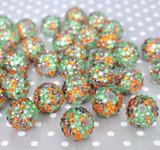 20mm Fall confetti rhinestone bubblegum beads