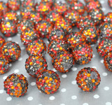 20mm Thanksgiving confetti rhinestone bubblegum beads