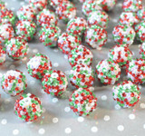 20mm Christmas White confetti rhinestone bubblegum beads