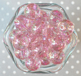 20mm Bubble bead Pink glitter AB
