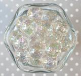 20mm Bubble bead Silver glitter AB