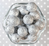 20mm Silver Glitter Glam beads