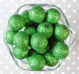 20mm Emerald Glitter Glam beads