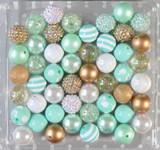Mint, White, and Gold bubblegum bead wholesale kit