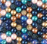 16mm Bronze and Navy bubblegum bead mix