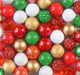 Christmas Gold red white emerald green bubblegum bead wholesale kit
